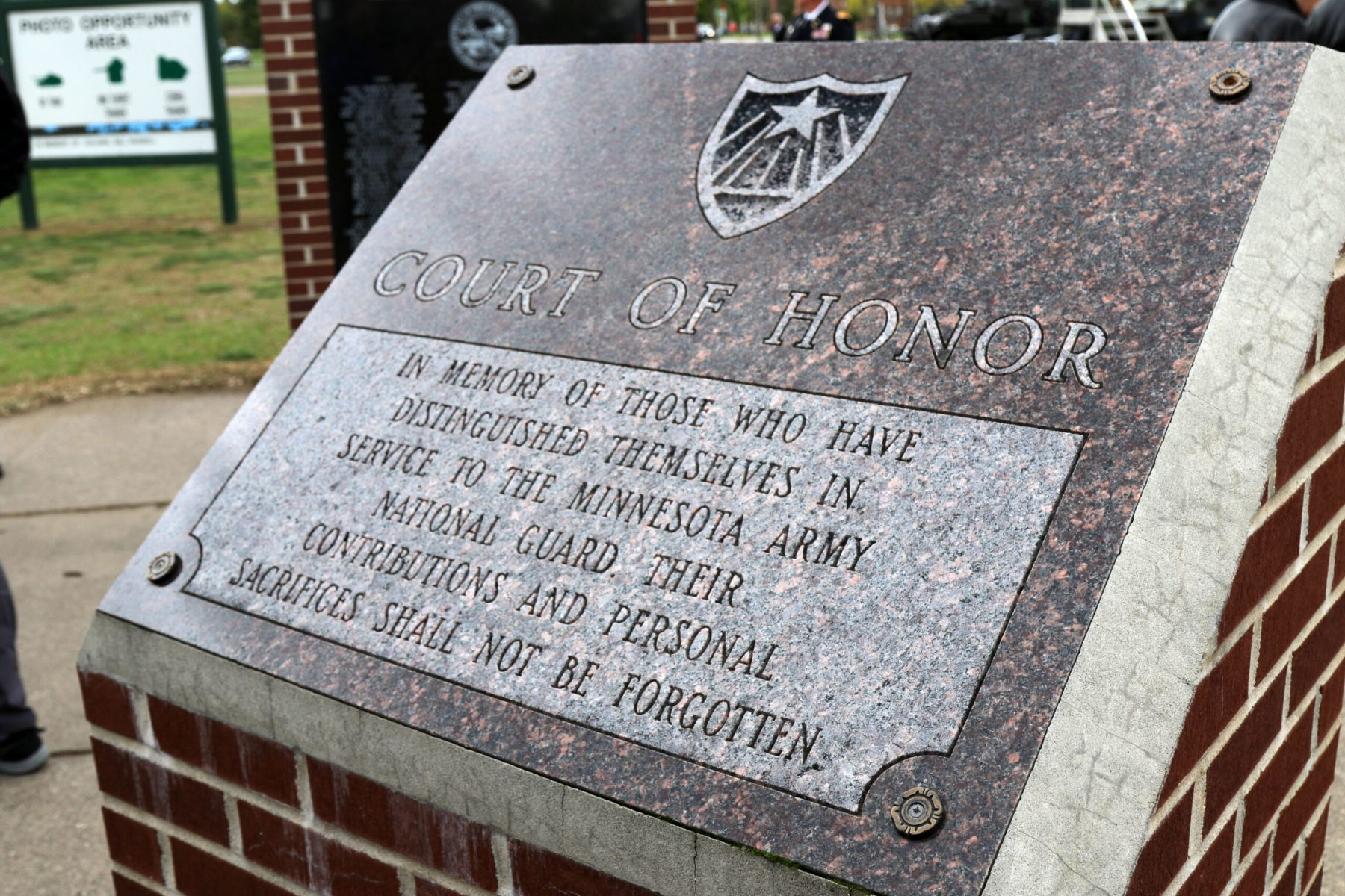 Court of Honor memorial plaque located at the Military Muesem on Camp Ripley.