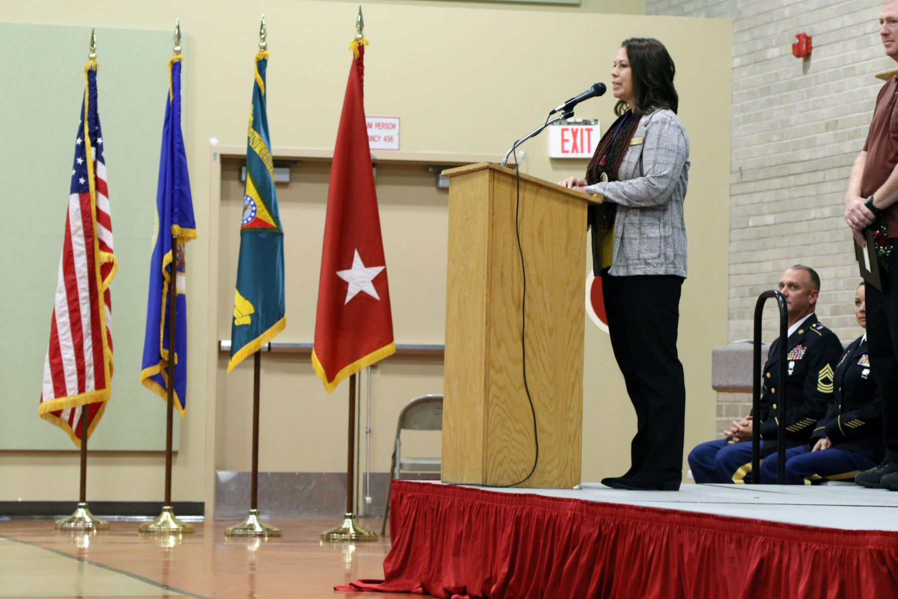 Command Sergeant Major (Ret.) Cynthia A. Kallberg thanks her family, friends, and mentors during the Court of Honor Induction Ceremony on Camp Ripley on October 6th 2019.