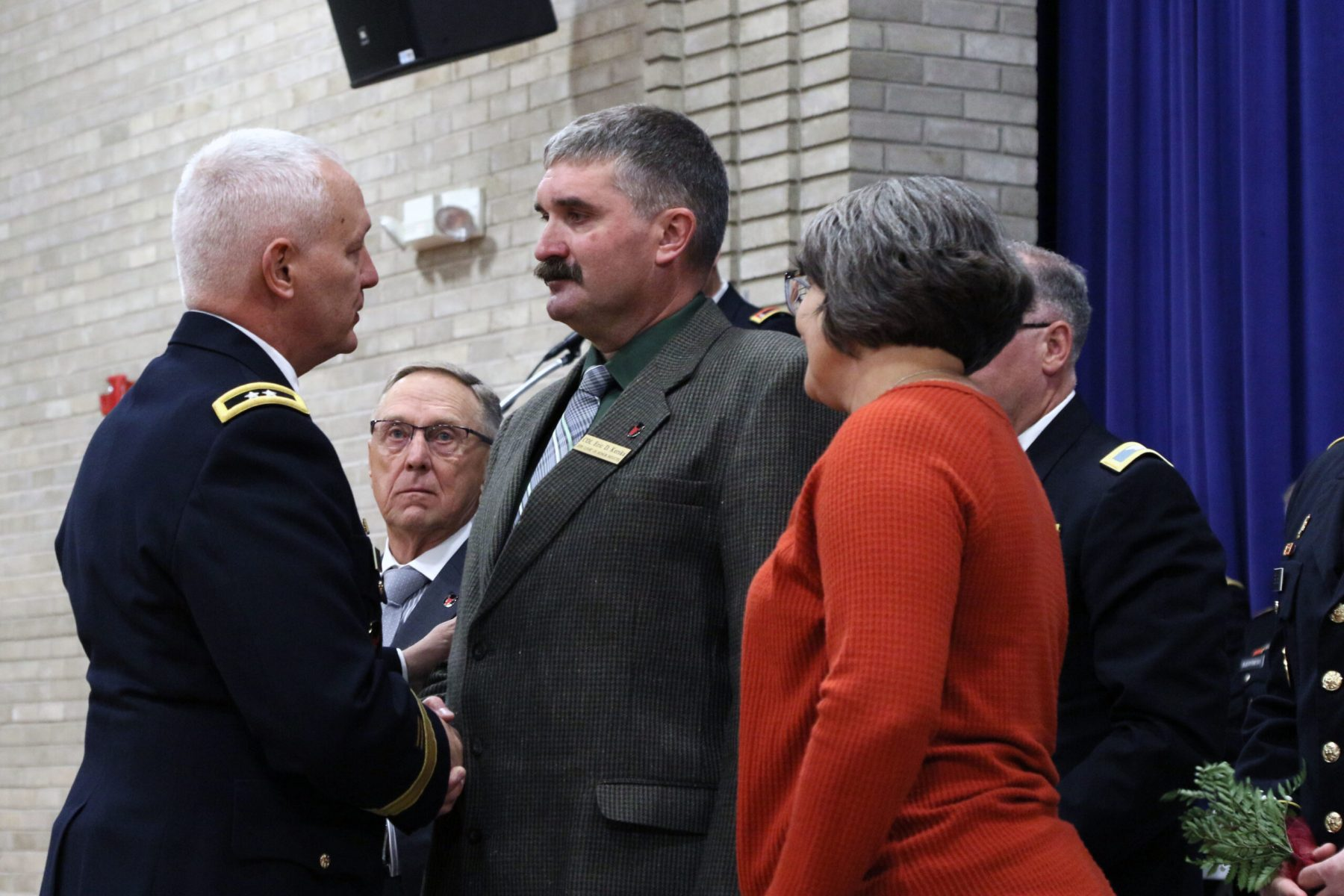 Major General Jensen shakes Colonel (Ret.) Eric D. Kreska's hand during the Court of Honor induction ceremony on Camp Ripley on October 6th 2019.