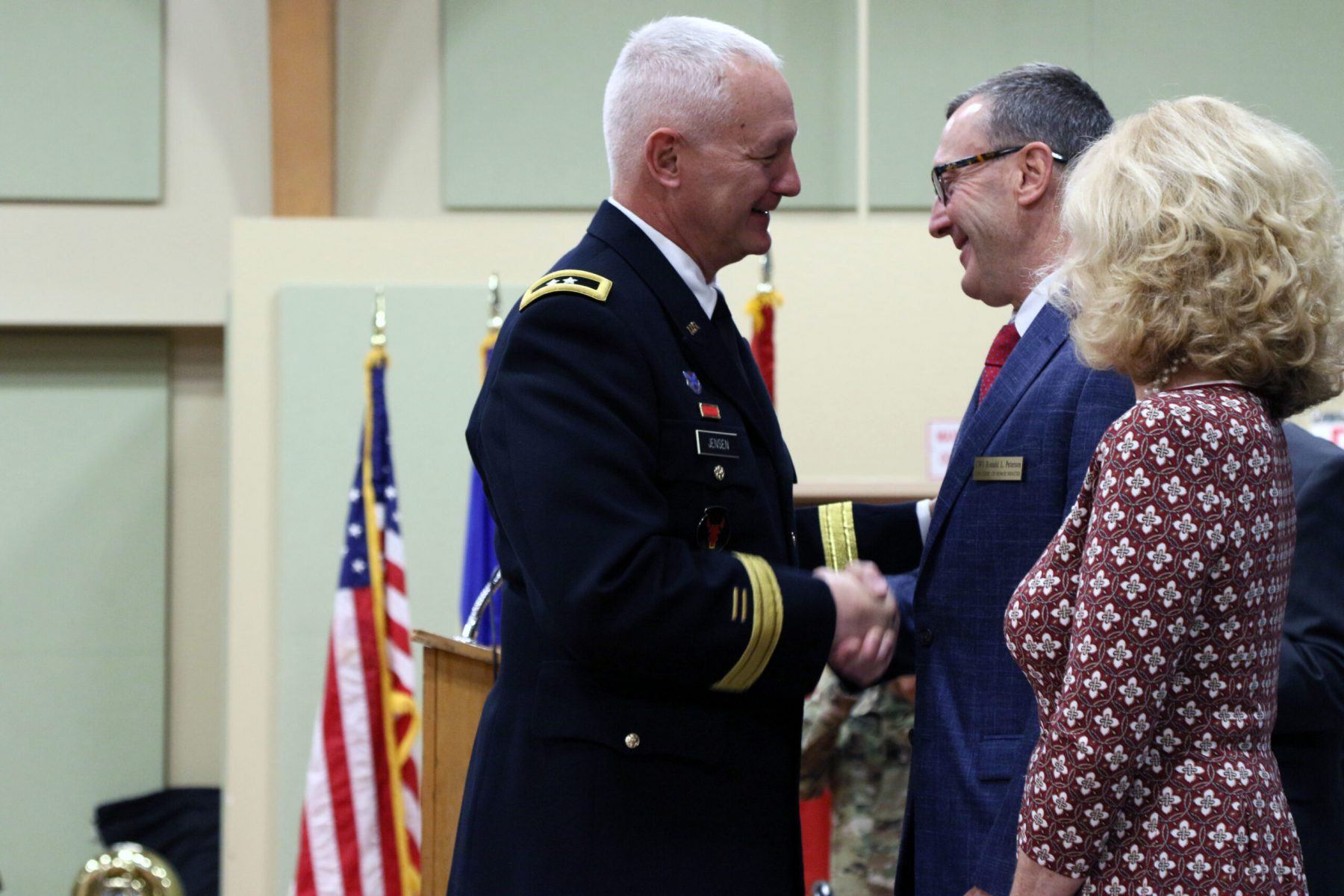Chief Warrant Officer 5 (Ret.) Ronald L. Peterson shakes the hand of Maj. Gen. Jon Jensen, Minnesota National Guard Adjutant General, during the Court of Honor ceremony on October 6th 2019 on Camp Ripley.