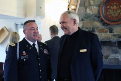 Lt. Col. Hackett and Colonel (Brevet) (Ret.) Warren G. Herreid talk prior to the Court of Honor Induction Ceremony on Camp Ripley on October 6th 2019.