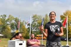 Allissa Waukau, public engagement liaison for the offices of Governor Tim Walz and Lt. Governor Peggy Flanagan shares the best wishes of our state representatives to a group of Minnesota National Guard Soldiers and tribal students during the 'Planting for the Future' event on Camp Ripley Sept. 20, 2019.